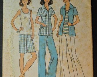 Misses' Top, Shirt-Jacket, Pants, Shorts Size 16 1/2 Uncut Vintage 1970s Sewing Pattern-Simplicity 6984