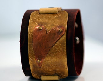 Ecocycled Leather Heart Cuff
