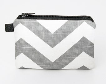 Coin purse, small zipper pouch, padded change purse- gray chevron
