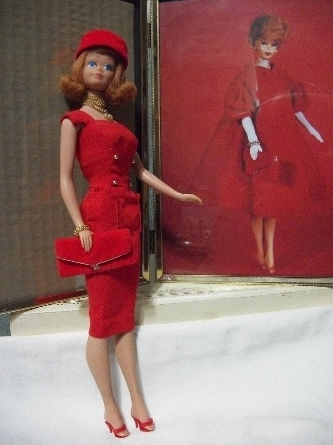 Vintage Midge Barbie Doll And Framed Photo Of Barbie By