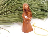 Hand carved mother with child Christmas tree ornament