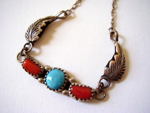 Vintage Jewelry Rita and Richard Begay Sterling Turquoise and Coral Navajo Native American