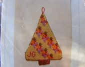 Vintage Needlepoint Kit Christmas Ornament, Joan Gantt, Della Robbia Tree, Xmas Continental Collection, Heritage Designs