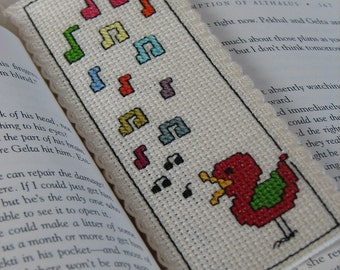 Cross Stitch Bookmark Pattern: Singing Bird (Immediate Downloadable PDF)