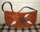 Boho Brown Suede Bag - Vintage Bohemian - Flower and Leaf Design Applique - Handbags