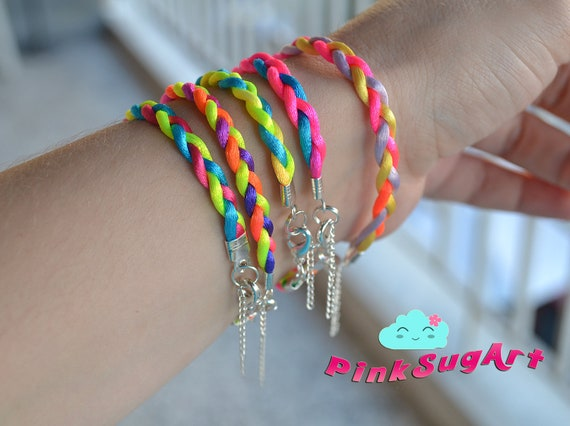 Set of 5 - Neon Braided Satin Cord Summer Bracelets Neon Bracelet Set Womens Accessories - Handmade by PinkSugArt
