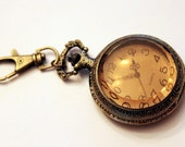 Bronze pocket watch keychain, perfect gift for guy, dad, or groomsman