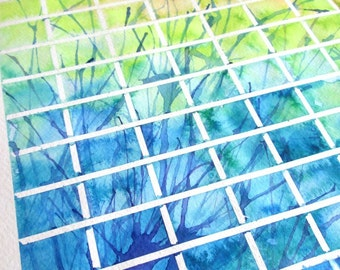 Original blue, green and orange abstract squares watercolor