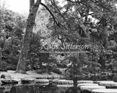 Lake in Black and White with Stepping Stones at Maymont Park in Richmond Va, 8x10 Photo, Framed Photography Option