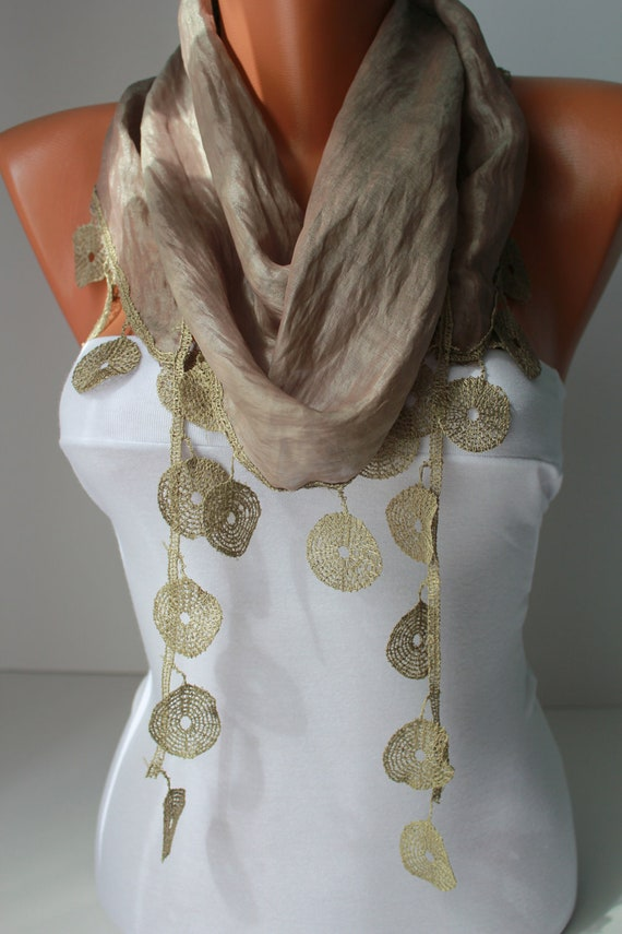 Light Khaki  Shawl Scarf - Headband -with circle Lace Edge - Trending Summer