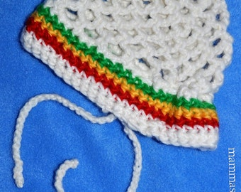 Crochet-net-tam white with Rasta colours for Baby