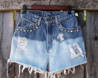"Vintage LEVIS studded denim high waisted booty shorts cut offs light blue ombre bleached destroyed 27"" waist"