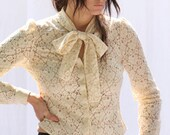 LACE Scarf-Tied Blouse in Cream. Steampunk-Nouveau-Victorian. Women's Lace Top on SALE