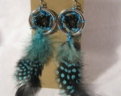 SALE Dream Catcher Earrings- Black and Blue