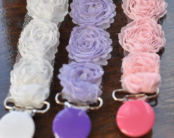 High End Boutique shabby chic  Rose Flowers Baby Infant Newborn Girl Baptism Pacifier Binky Clips Pink  Purple White