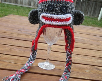 Sock Monkey Earflap Hat- Made to Order- Any Size