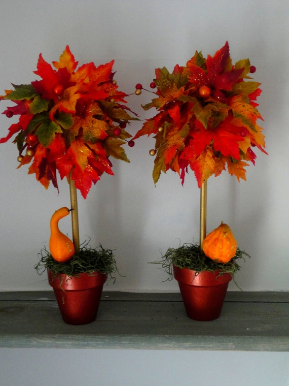 SET OF 2 - Fall Topiaries - Fall Centerpiece - Fall Decoration - Fall Wedding Centerpiece - Floral Arrangement - Table Decor - Mantle Decor