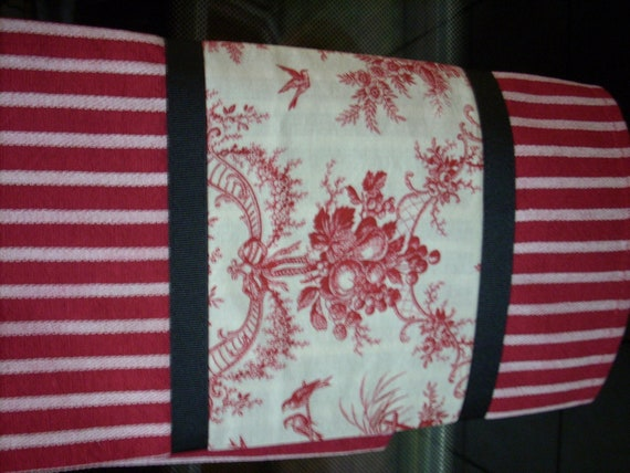 SOLD French Shabby Chic Red and White Toile Teatowel/ Dishtowel