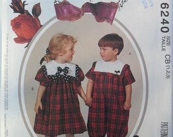 Boy's Girl's Children's Toddler's Dress or Romper Vintage 1990's Ruffles and Lace Treasured Collection from McCall's 6240 Size 1 2 3
