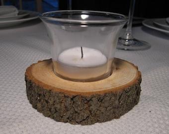 Rustic Wood Centerpiece Candleholders