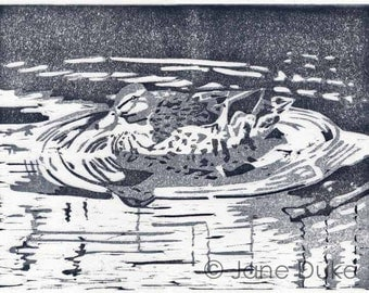 Duck Swimming woodcut relief print unframed grey limited edition bird picture duck print