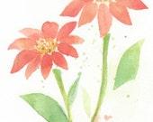 Flower, flower painting, original painting, wall art, watercolor, watercolor painting, Red bloom- original watercolor painting