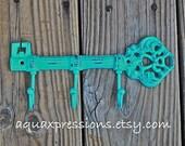 Cast Iron Hook / Laguna Green Metal Key Hook /Wall Hanger/ White Skeleton Key Rack/ Fun Elegant Wall Decor/ Cottage Shabby Chic/ Painted