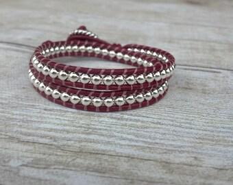 Leather Wrap Bracelet, Burgundy Bracelet, Womens Jewelry, Boho Wrap, Gift for Her, Modern Jewelry, On Trend Jewelry
