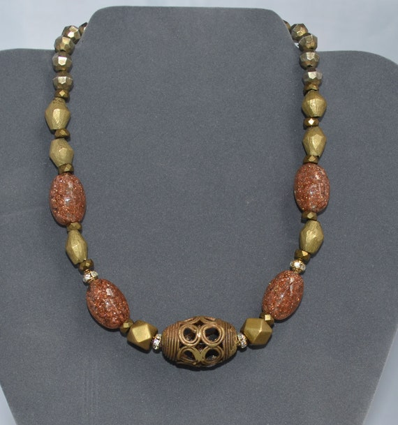 RESERVED Vintage Necklace Venetian Beads and Brass African Style by TOBY JONES