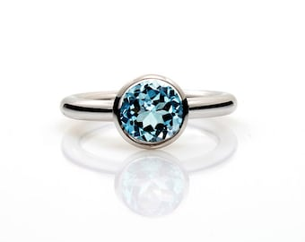Engagement ring, Blue topaz, white gold ring, Blue engagement, Topaz, engagement ring, topaz, solitaire, bezel, custom