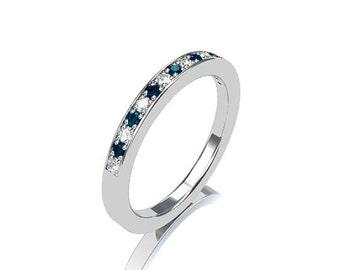 Blue diamond ring, white gold, wedding band, blue diamond wedding, gold wedding, pave, thin ring, blue wedding, diamond band, teal diamond