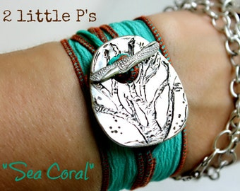 Beach Jewelry  Sea Coral Handcrafted Artisan Silk Wrap Bracelet