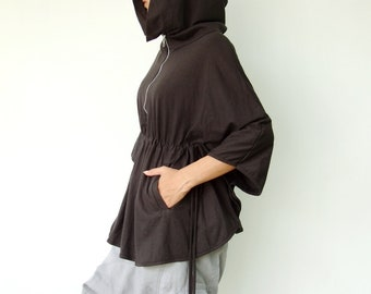 NO.75 Charcoal Cotton-Blend Jersey Zip Front Hoodie Poncho, Women's Sweater