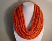 Orange Chain Necklace Infinity Scarf - Neck Warmer