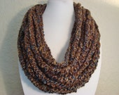 Brown and Blue Crochet Chain Infinity Scarf - Neck Warmer