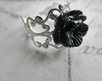 Vintage Look Silver Tone Filigree and Black Glitter Rose Adjustable Ring