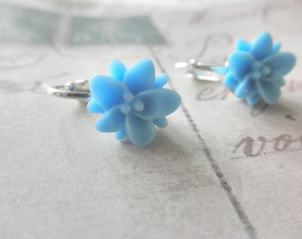 Girls Sky Blue Lily Flower Clip on Earrings