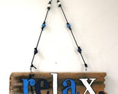 Relax Driftwood Art with blue & white beads (Made to Order) - PeaceLoveDriftwood