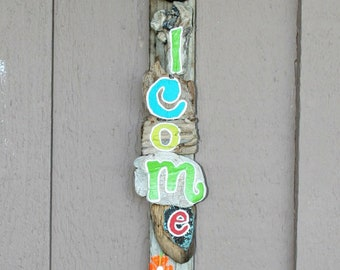 WELCOME HOME Driftwood Sign with bright beachy colors (Made to Order)