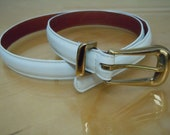 90s White Skinny Belt w/ Brass Buckle by COACH - USA Made / Size M / FREE Shipping