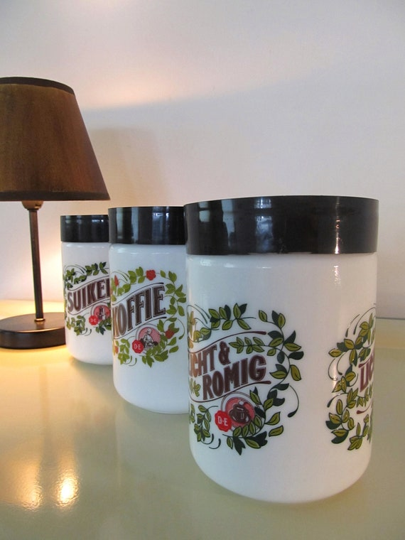 Vintage Dutch Milk Glass Canister set - Koffie, Suiker and Licht en Romig