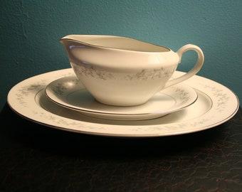 Serving Platter and Gravy Boat 3 pc Set, Vintage Japan China, Forget Me Not, Blue Flowers, Silver Rim, Wedding Present, Housewarming