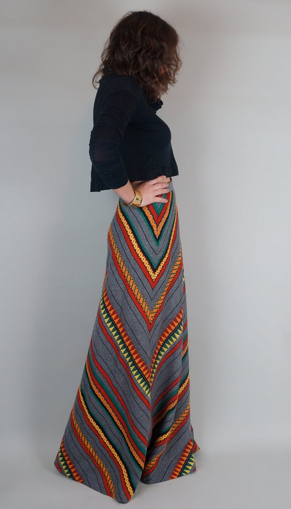 colorful mexican print high waist wool maxi by