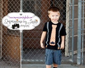 Boy's Black and White Chevron Appliqued Suspenders with Orange and White Polka Dot Tie with Bat Halloween Shirt or Onesie