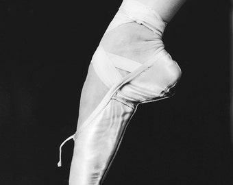 On Pointe, ballet dancer, black and white fine art photograph