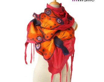 SALE! nuno felted scarf, red with a bit of pink and butterflies silk felt nunofelted designer shawl, felted shawl, felted wool by inmano