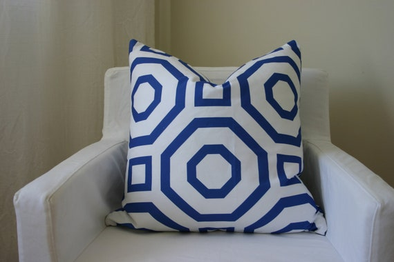 Geometric Blue Pillow - Blue and White - Hollywood Regency - Accent Pillow - Toss Cushion