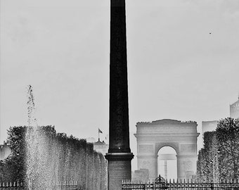 Arc de Triomphe View from Tuileries, Fine Art Photography,Paris,France,multiple sizes available,Cleopatra's Needle, black and white,fountain
