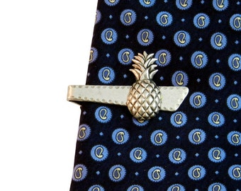 Pineapple Tie Clip Bar Vintage Style Tropical  Island Silver Men's Unique Gifts Accessories