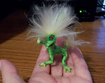 Glow in the Dark Green Baby Troll Fantasy Art Doll